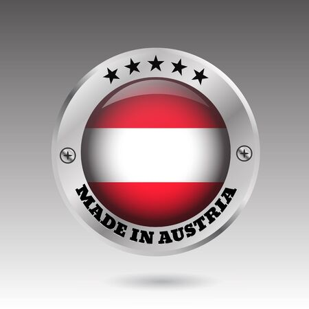 Big made in Austria button flag symbol  vector eps10 illustration