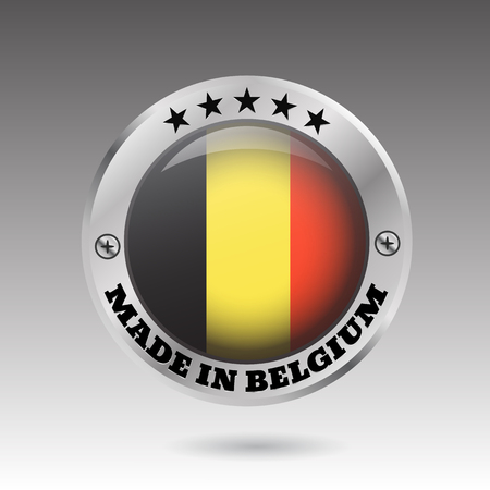 Made in belgium silver badge and icon with glossy  flag symbol  vector eps10 illustration Ilustração