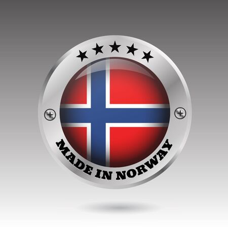 Made in Norway silver badge button flag symbol  vector eps 10 illustration Ilustração