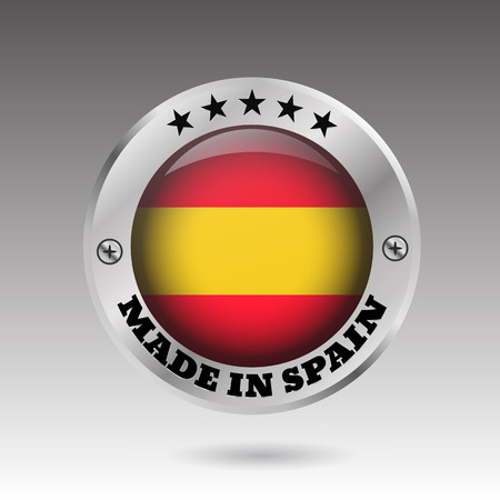 Big made in spain button flag symbol  vector eps10 illustration