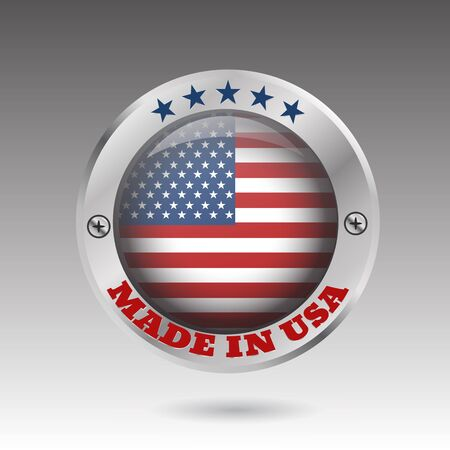 Made in USA silver badge and icon with glossy  flag symbol and stars vector eps10 illustration