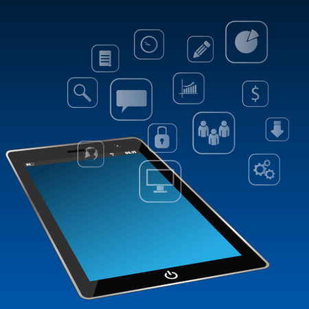 Tablet computer with icons interface background eps 10 illustration Ilustração