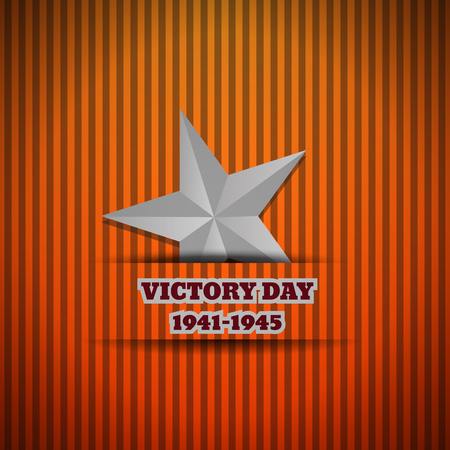 Victory Day silver star vector illustration eps 10 background Ilustração