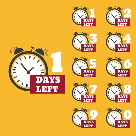 Days left to do clock  banners collection badges for landing page set