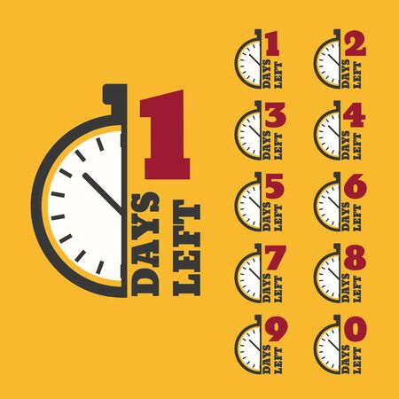 Days left to do clock  banners collection badges sale, landing page set Ilustração