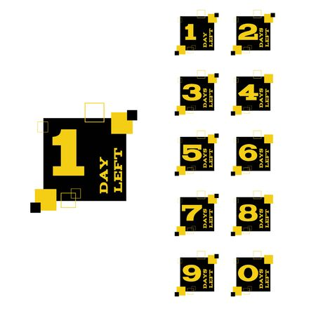 Days left to go black yellow design banners collection set eps 10