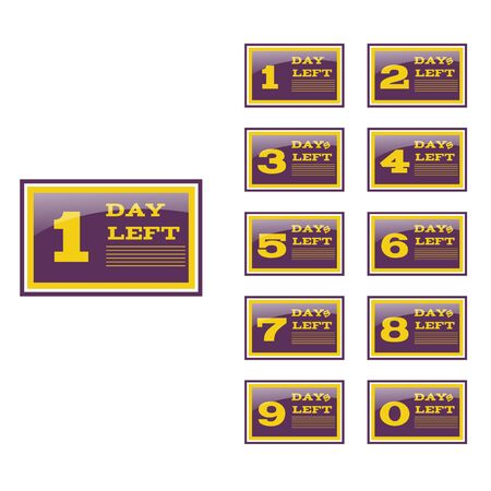 Days left to go violet  yellow design banners collection set eps 10