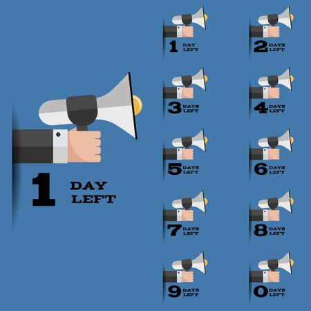 Flat hand day left set for your design eps 10 vector illustration
