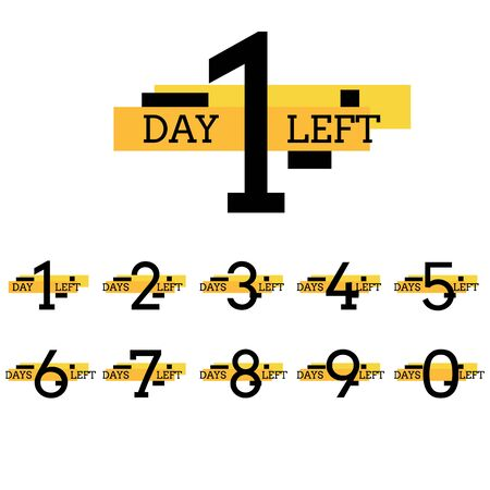 Days left number design for web project eps 10 vector