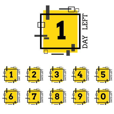 Days left number yellow black geometric design for  project eps 10 vector Ilustração