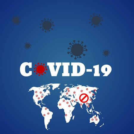 Danger covid 19 quarantine sign virus bacteria concept design  background vector illustration eps 10