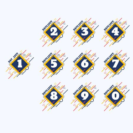 set of number days left countdown vector illustration eps 10 template