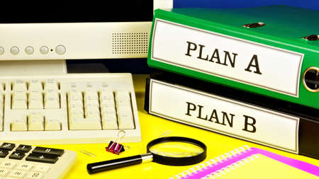 Plan A and plan B-text inscription on the office Registrar. The main action plan for the execution of the original plan. And an alternative backup plan in case the original plan fails. Stock fotó