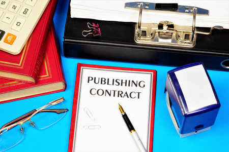 Publishing contract-text inscription on the document form. Transfer of a work created by the author to the publisher for publication or reissue.