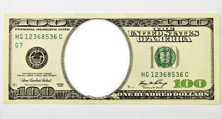 One- hundred-dollar American bill, no portrait, empty frame, letterhead for design. Reklamní fotografie