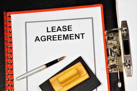 Lease agreement - the inscription of the text in the form of a document folder on office of the Registrar. Form of property contract.