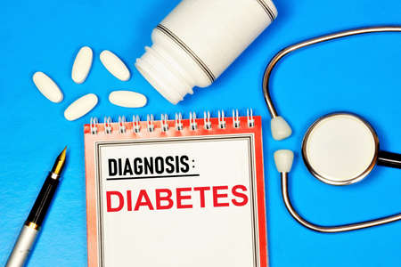 Diabetes, elevated blood glucose levels. Text inscription on the form in the medical folder. The diagnosis was made by a doctor. Prevention and treatment with medications.