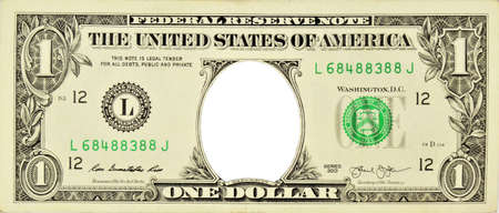 One dollar with an empty space without a portrait. Frame, background, template for photo of the design. Foto de archivo