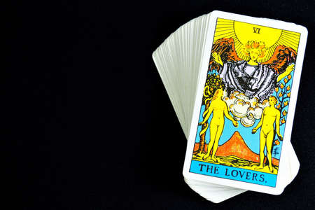 Tarot cards on black Archivio Fotografico