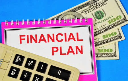 Financial plan. Text inscription on the Notepad of the strategy for achieving the goals of the organization's material functioning.