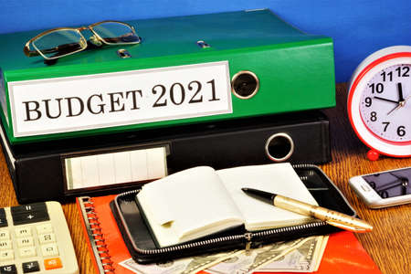 Budget 2021. Text label on the folder office of the Registrar. Drawing up the tasks of the event concept, the goal is to achieve profit in the future.
