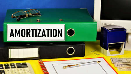Amortization. Text label on the folder office of the Registrar. Depreciation of fixed assets, the residual value of the object.
