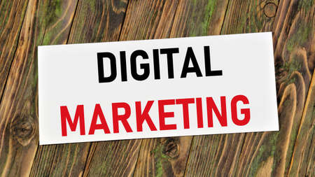 Digital marketing. The text label in the banner plate. The goal is to promote the brand, increase sales, potential customers, and make a profit.