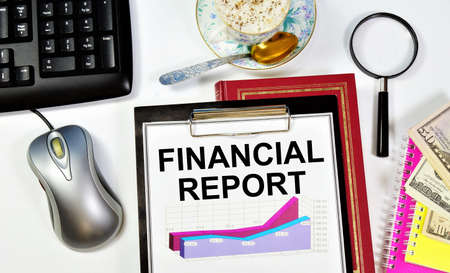Financial report. Text label on the planning folder. Research of the accounting strategy of the enterprise activity and its expertise.