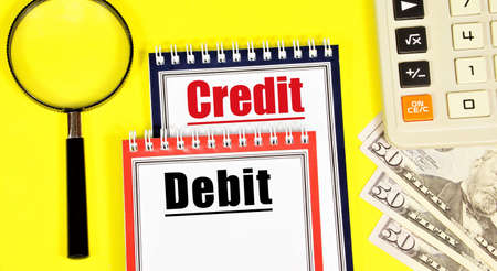 Debit and credit. The text label in the working document. Standard accounting methods.
