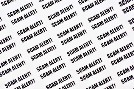 Scam alert! A lot of text labels. Theft or acquisition of the right to someone else's property by deception or abuse of trust, deliberate distortion of the truth. Imagens