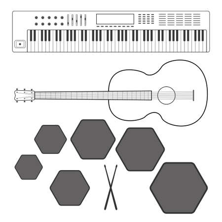 Musical Instruments: Keyboards, Guitar, Drummers, Vector Illustration