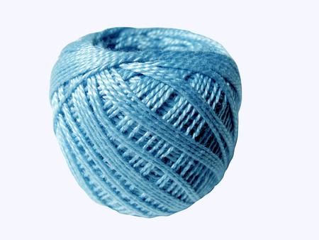skein: Blue thread skein, ball isolated on white background