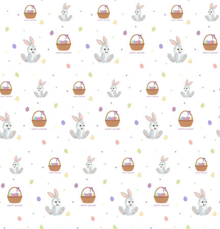 Seamless vector pattern with cute rabbits and baskets with eggs. Perfect for textile, wallpaper, decorative paper, packaging or print design.