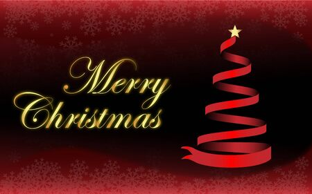 Background Gold text and star Merry Christmas and a red Christmas tree