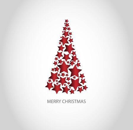 Red christmas tree and text Merry Christmas Vektoros illusztráció