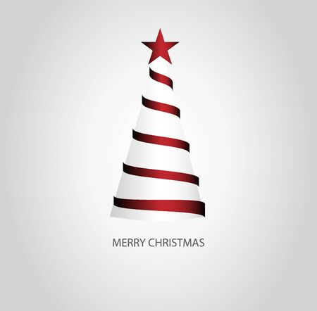 Red christmas tree spiral ribbon and text Merry Christmas