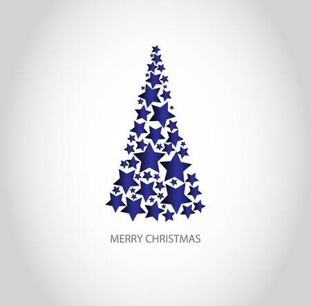 Blue christmas tree and text Merry Christmas Vektoros illusztráció
