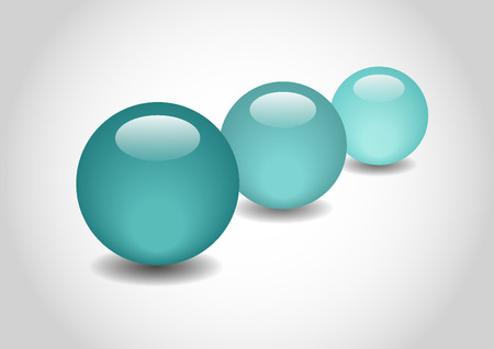 spherule: CYAN 3D color Glossy Ball in vector Illustration