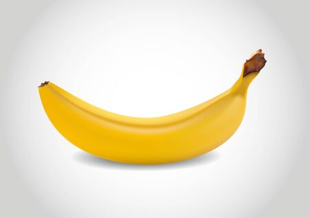 alimentary: three-dimensional one yellow banana shaded in vectors