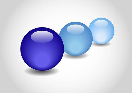 spherule: BLUE 3D color Glossy Ball in vector