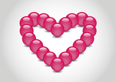 spherule: Heart 3D color Glossy Ball in vector