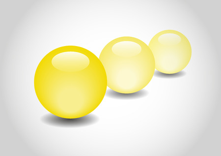 3d ball: YELLOW 3D color Glossy Ball in vector