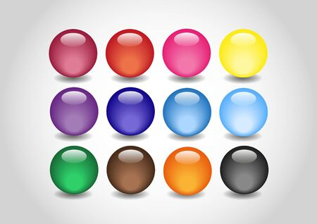 spherule: many 3D color Glossy Ball in vector