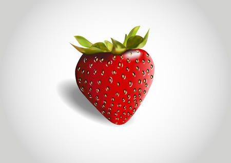 shaded: three-dimensional one red strawberry shaded in vectors