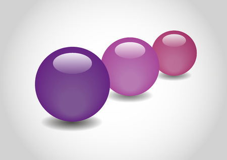 spherule: PURPLE 3D color Glossy Ball in vector Illustration