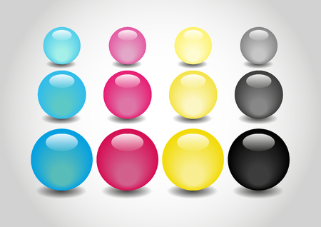 spherule: CMYK 3D color Glossy Balls in vector