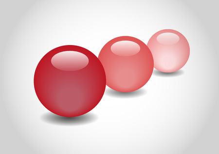 spherule: red 3D color Glossy Ball in vector Illustration