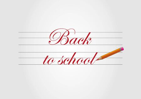 Back to school - red text and pencil Reklamní fotografie - 44362940