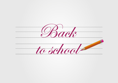 Back to school - red text and pencil