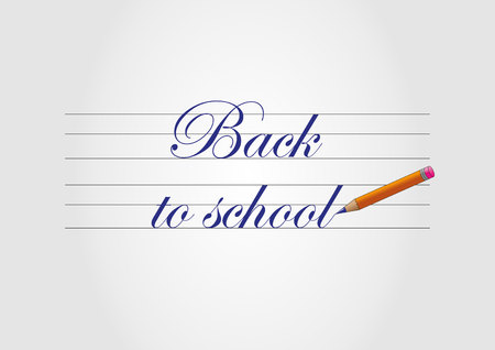 Back to school - blue text and pencil Reklamní fotografie - 44362942